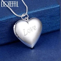 doteffil 925 sterling silver snake chain love photo frame necklace for women fashion wedding party charm jewelry
