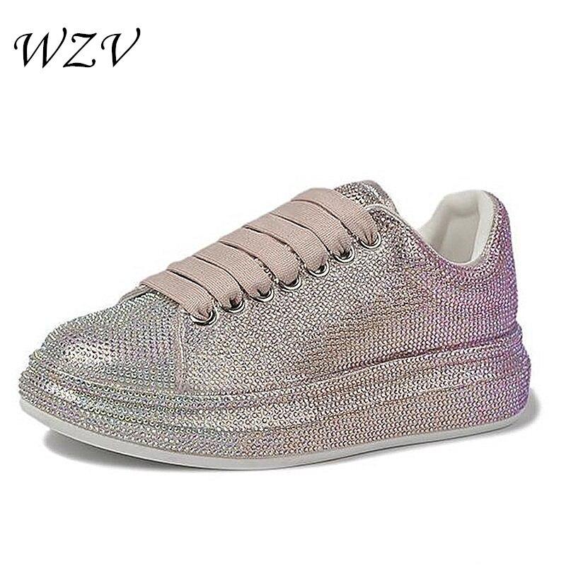 2021 حار المرأة حجر الراين حذاء كاجوال منصة أحذية رياضية سميكة بوتون كسول السيدات أحذية التدرج اللون أحذية نسائية S145