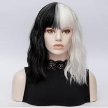 CRUELLA Deville De Vil Cosplay Wigs Curly Half White Half Black Heat Resistant Synthetic Hair Wig + Wig Cap