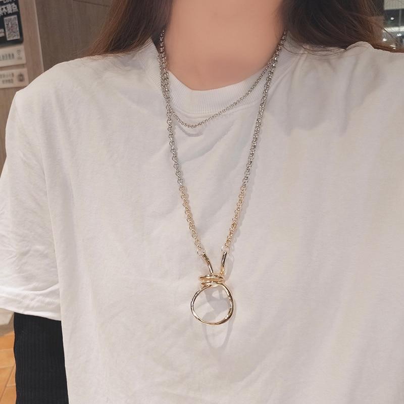Suéter largo elegante para mujer, collar de anillo de Metal combinable con...