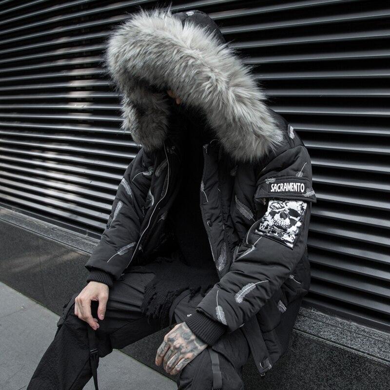 Chaqueta de invierno para hombre, parkas con Cuello de piel, pluma dibujada,...