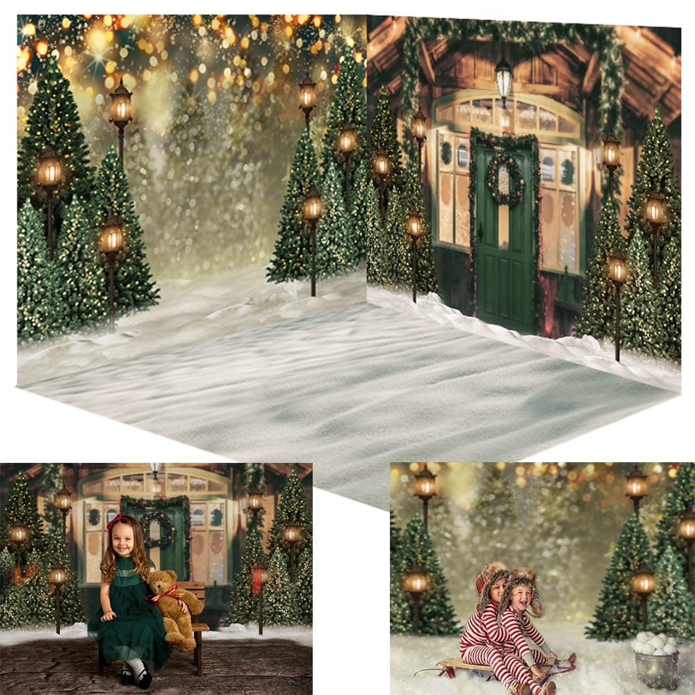 Christmas Wooden House Winter Snow Background Backdrop For Photography Dark Green Door Photo Background Christmas Tree Backdrop