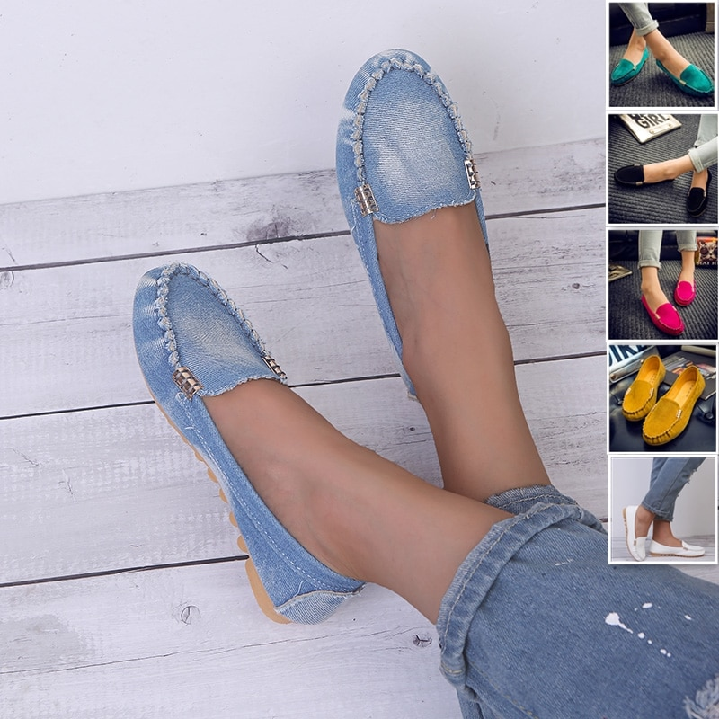 Women Casual Flat Shoes Spring Autumn Flat Loafer Women Shoes Slips Soft Round Toe Denim Flats Jeans Shoes Plus Size