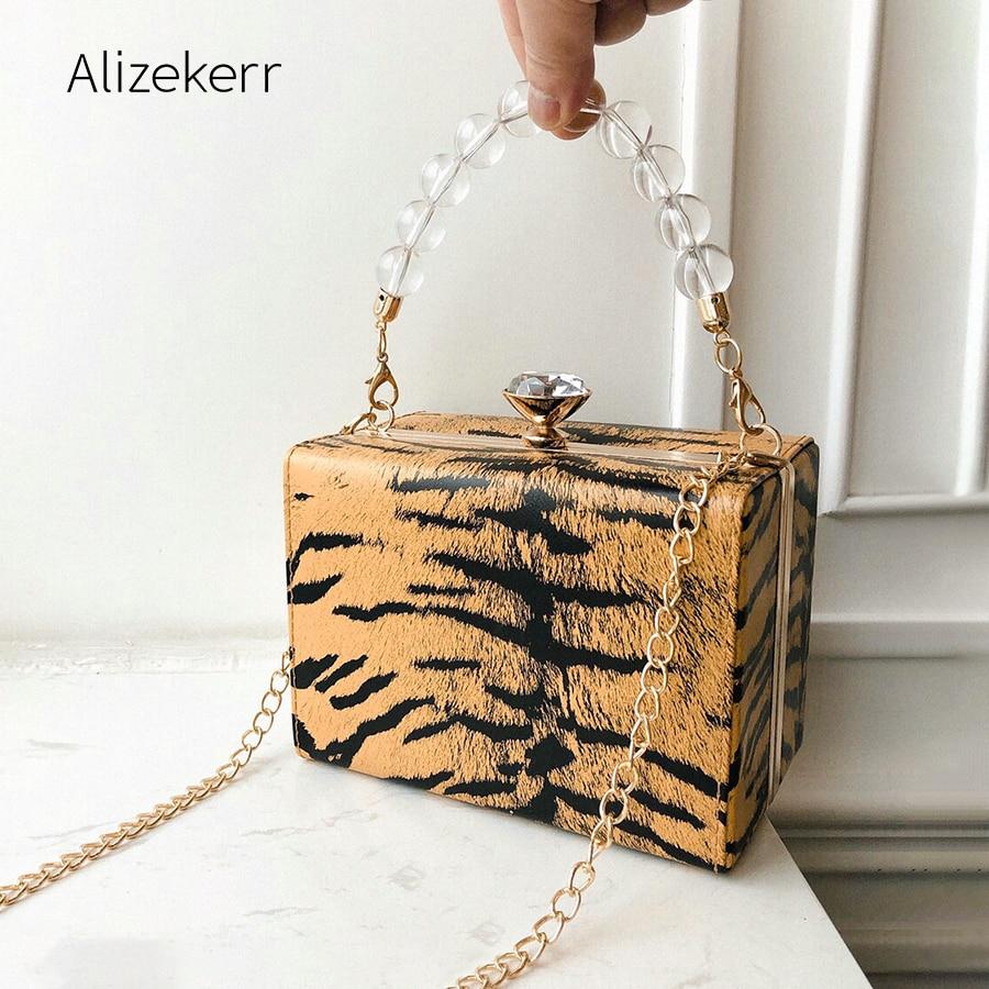 Leopard Print Clip Box Handbag Women 2019 Acrylic Beads Pearl Small Flap Evening Shoulder Bag Female Diamonds Cell Phone Purse