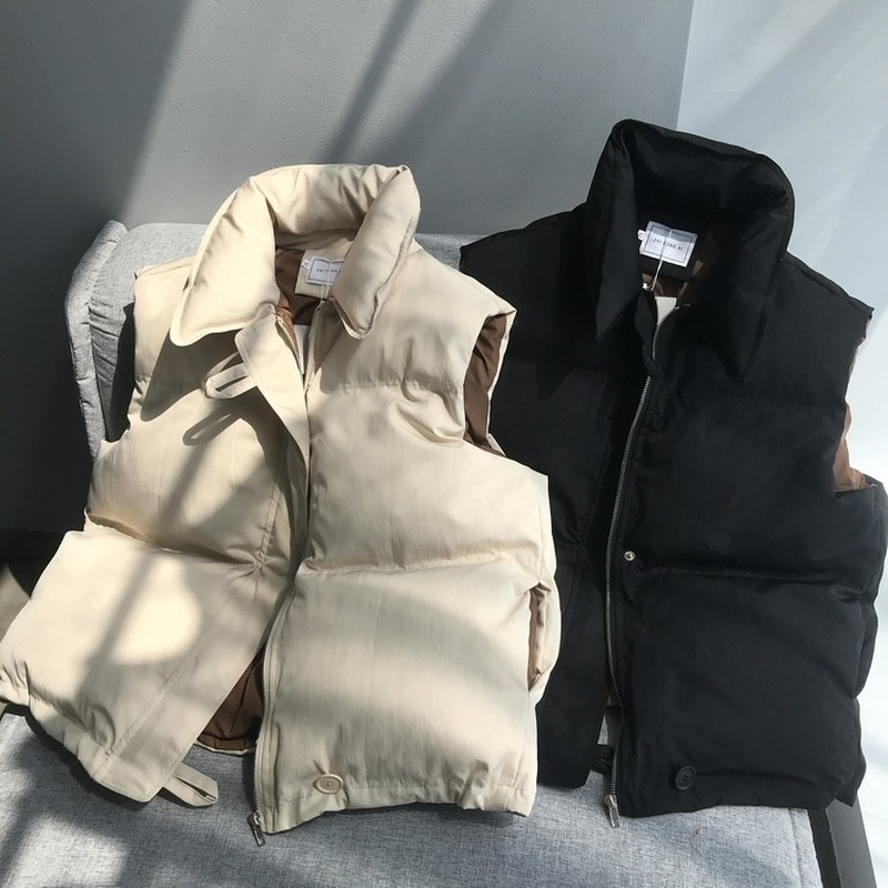 Sleeveless Vest Women Winter Keep Warm Puffer Jacket Solid Stand Collar Harajuku Outwear Loose Fashion Padded Vest Korean Style winter new style ladies stand up collar lightweight down vest casual style down vest women s big pocket fashion solid color vest