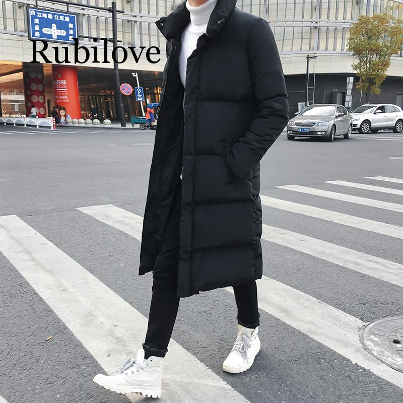 Rubilove, мужская длинная пуховая куртка, пальто, роскошный бренд, зимняя однотонная черная парка, мужская, размера плюс 4XL, толстая, теплая, прит...
