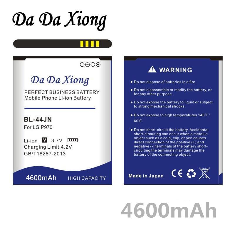 Da Xiong 4600mAh BL-44JN BL44JN BL 44JN batería para LG P970 P690 P693 E730 E510 C660 P698 C660 MS840 L5 E400 E610 E730