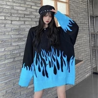 vetement femme 2021 hip hop oversized long sleeve men knitted sweaters autumn winter blue flame printed women sweater tops