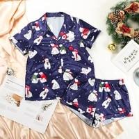silk women pajamas sleepwear suit short sleeve pajama set sexy summer homewear night suit cute two piece homewear satin pj set