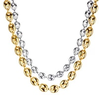2021 coffee bean chain necklace gold color stainless steel rope link chains for men women fashion pig nose chain long choker