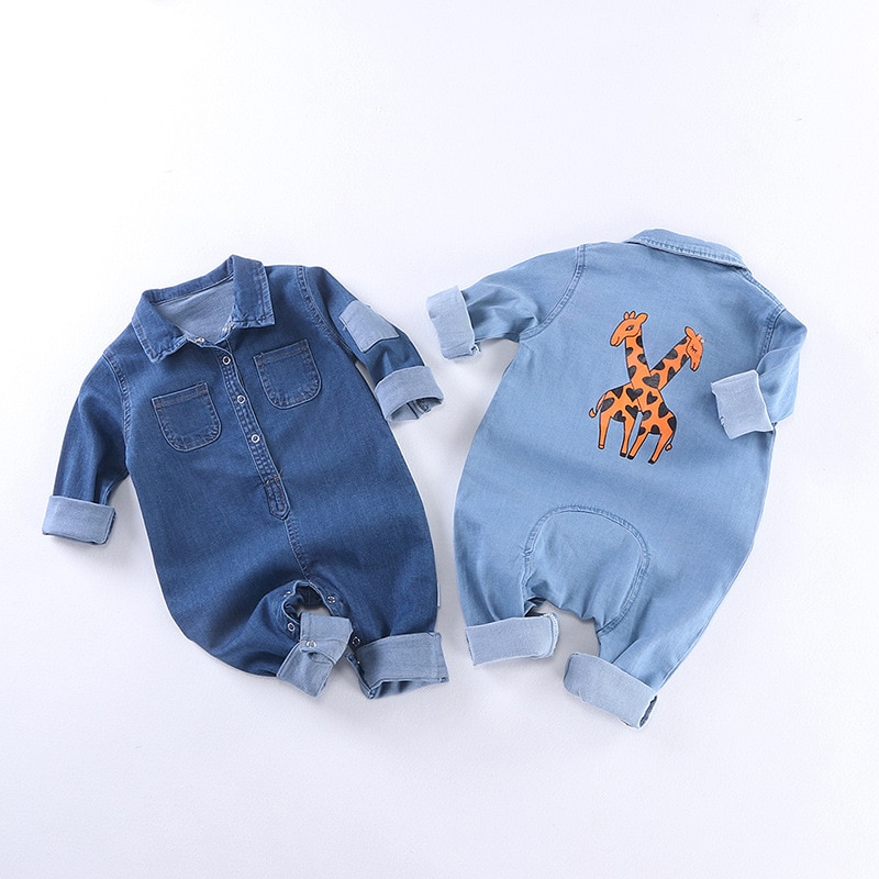 Pelele suave de mezclilla para bebé, jirafa Pelele de para recién nacidos, traje de bebés, niñas, vaqueros de moda para niños, peleles RM19013