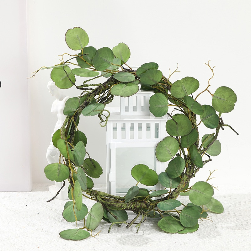 Simulación decorativa ratán Artificial verde planta decoración pared colgante boda 210cm suministros