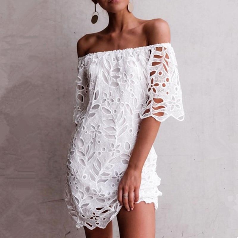 2021 nova oco para fora vestido de renda branca das mulheres fora do ombro manga curta elegante mini vestido sem costas femme ver através sexy vestidos