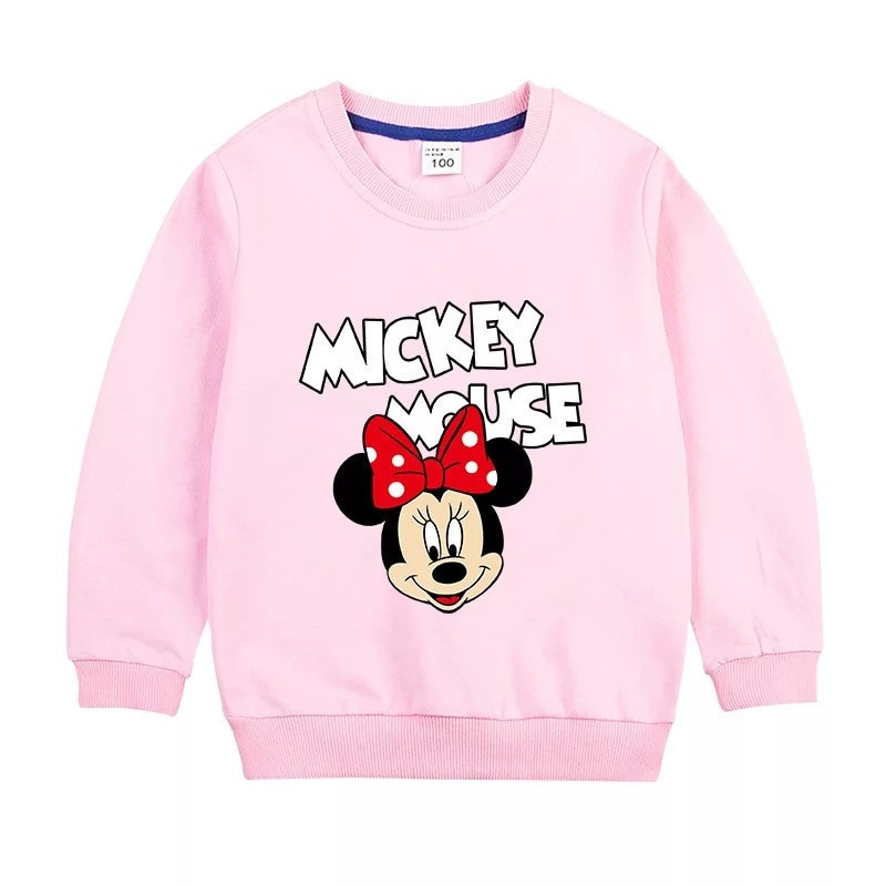 Disney Minnie/толстовки с капюшоном для девочек; Сезон весна осень; Пуловер из 100% хлопка; Детская одежда; Свитер для девочек; Топы для детей; Одежда|Толстовки и кофты| | АлиЭкспресс