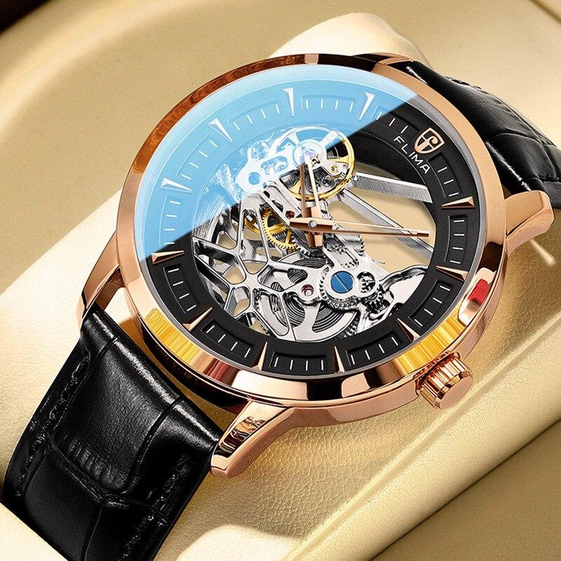 2021 new mechanical watch hollow watch automatic men's watch flywheel watch waterproof sports quartz watch men's trend wholesale