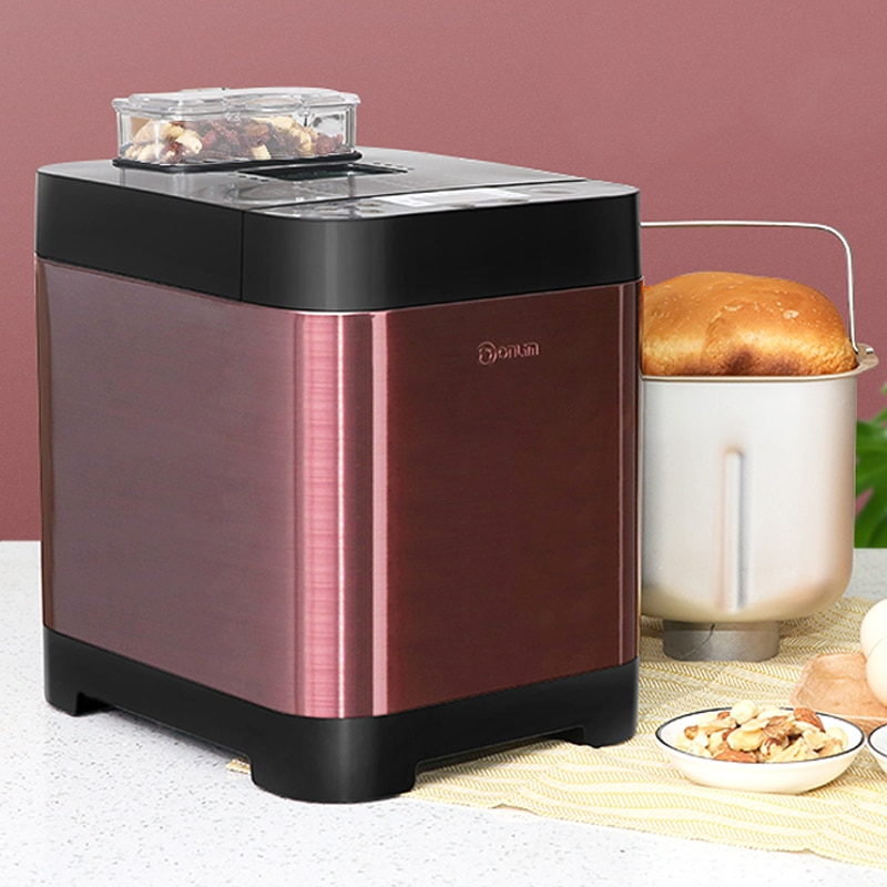 Donlim máquina de pan completamente automática, amasadora de masa con temporizador, máquina tostadora de pan automática, máquina de desayuno corporal de Metal