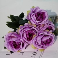 simulation 5 heads peony silk flower bunch wedding decoration flower arrangement arches t platform road lead artificial bouquet