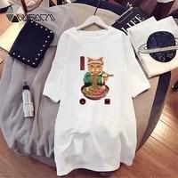 summer dress mini women loose japanese cat print t shirt dresses korean short sleeve casual streetwear pullover dress