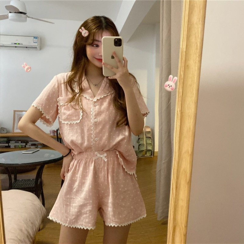 Summer 2021 New Korean Chic Polka Dot Suit Collar Love Pajamas Women's Homewear Internet Celebrity H