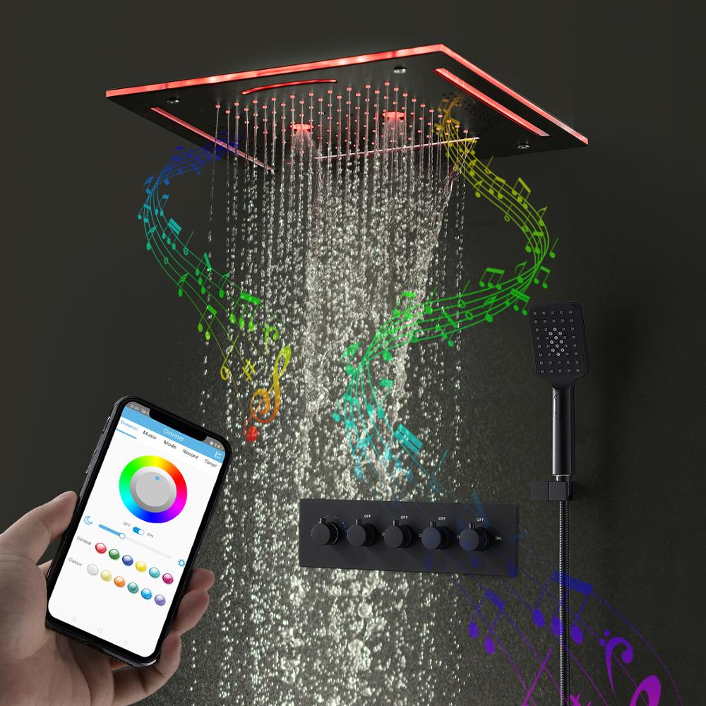 Accesorios de baño Set de cabezal de ducha LED inteligente Bluetooth música para ducha grifo ducha cascada rociador Kit de Ducha
