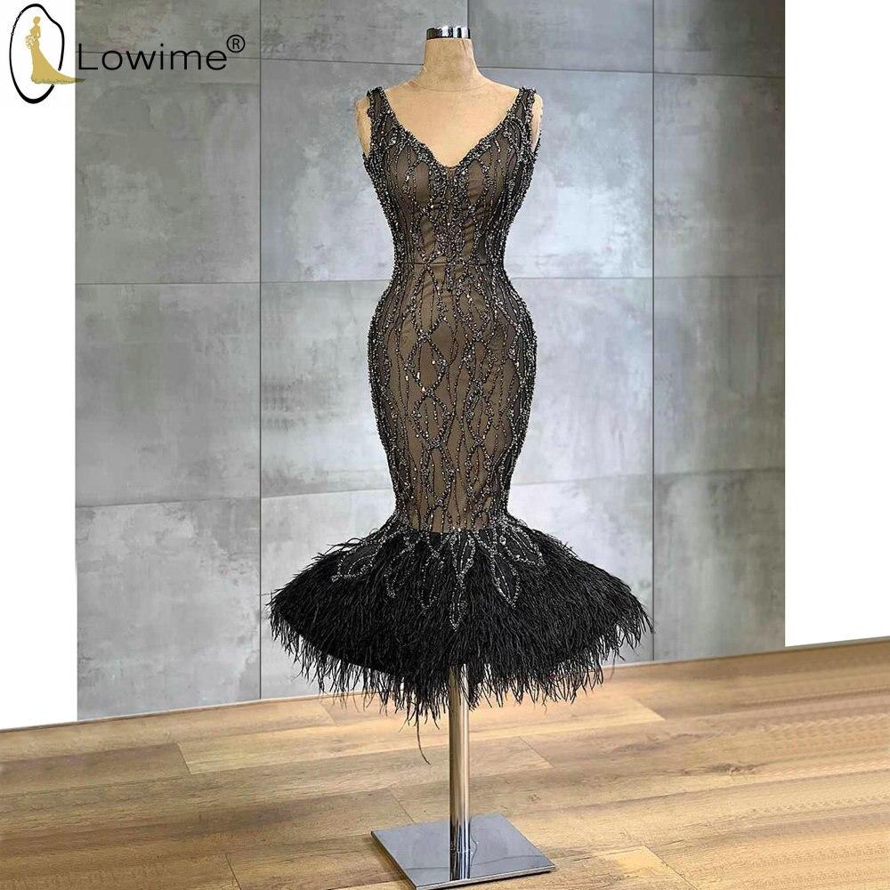 Vestido De Festa Schwarz Schwere Perlen Meerjungfrau Abendkleider V Neck Feather Prom Party Kleider Couture
