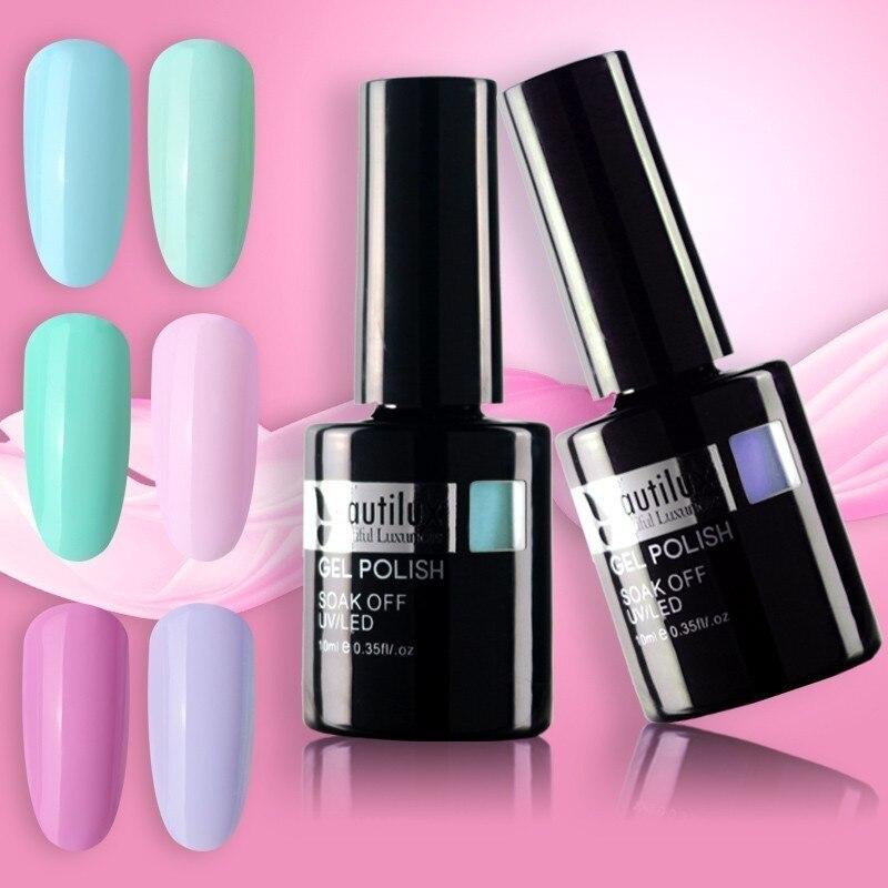 Beautilux 1pc Color de luz Flor de Primavera Azul verde rosa esmalte de gel de uñas UV LED empapa gel para manicura barniz de uñas 10ml