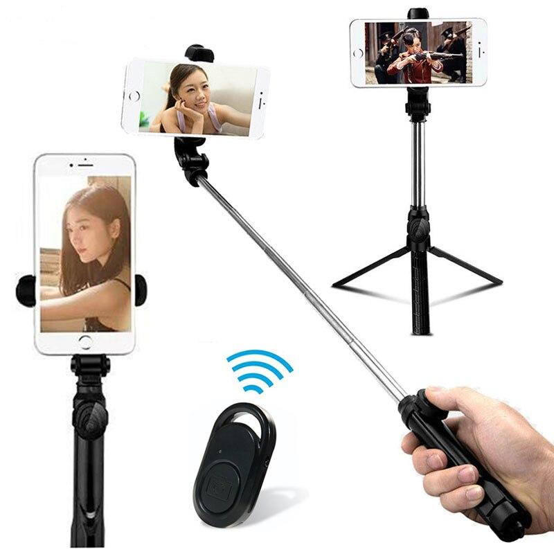 3 In 1 Wireless Bluetooth Selfie Stick Handheld Monopod Shutter Remote Foldable Mini Tripod for IPhone XR 8 X 7 6s Plus Xiaomi