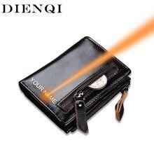 Dienqi carteira masculina de couro legítimo, pequena carteira compacta feita em couro legítimo com gravura, bolsa preta para dinheiro, presentes personalizados