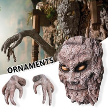 Creative Resin Tree Faces Decor Outdoor Whimsical Paw Tree Hugger Statues Bark Ghost Face Facial Fea