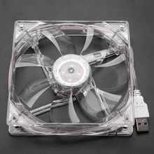 8cm/12cm CPU Cooler Fan USB LED Transparent Colorful Light RGB Cooling Fan 5V PC Computer CPU Cooling Fan