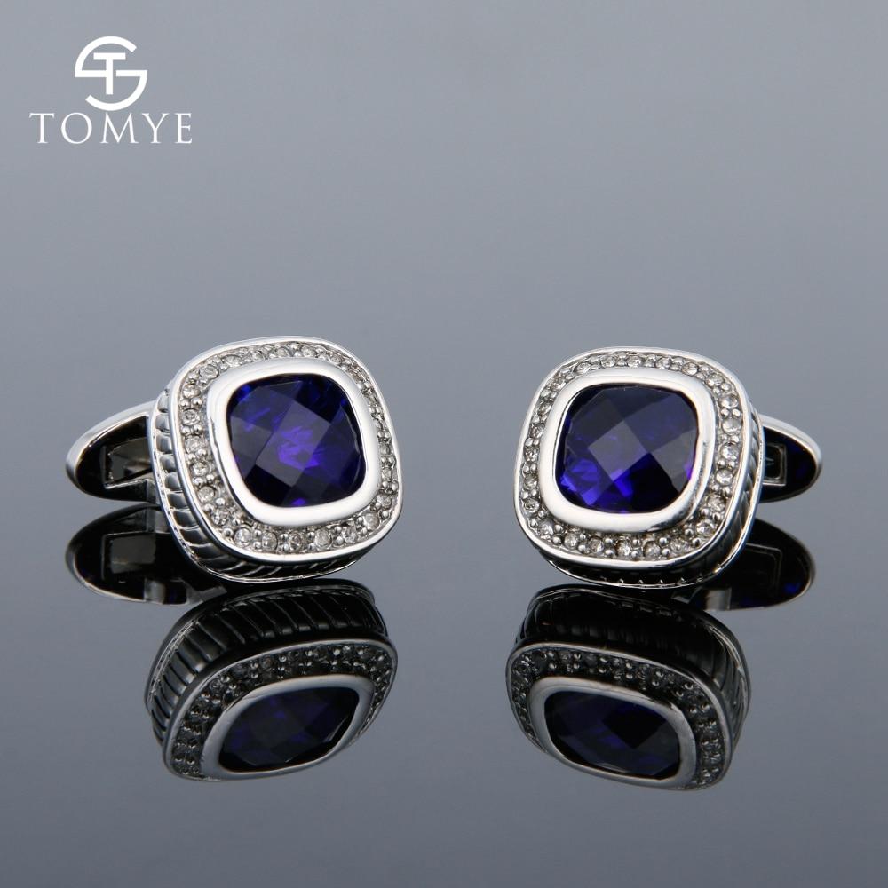 TOMYE французская рубашка с синими кристаллами и манжетами, свадебное платье, роскошные ювелирные изделия из чистой меди для мужчин и женщин XK18S377