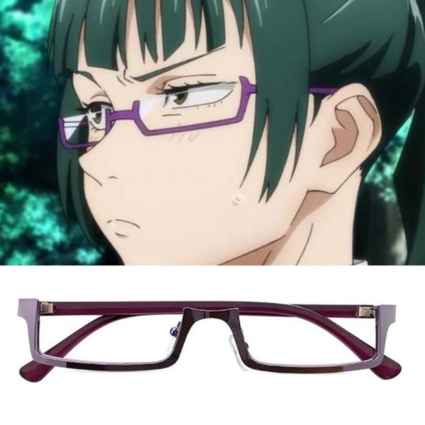 Jujutsu Kaisen Maki Zenin Cosplay Glasses Purple Half Frame Eyeglasses Without Lens Anime Costume Pr