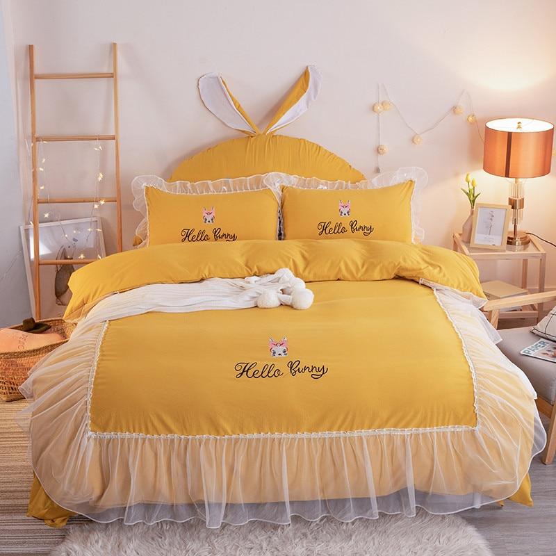 أربعة مواسم الساخن بيع الفراش 4 قطعة غسلها القطن التطريز لطيف الأرنب مرحبا الأرنب نمط ملاءات السرير لحاف غطاء الأميرة نمط