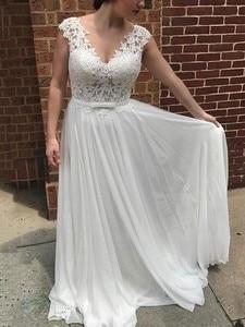 Robe de mariee Simple V-neck Cap Sleeve A-Line Appliques Beach Wedding Dress 2020 New Illusion Bridal Gowns vestidos de noiva