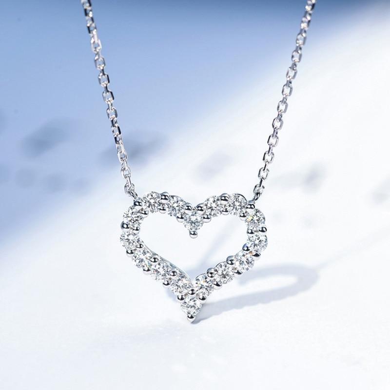 Collar romántico de Plata de Ley 925 con diseño en forma de corazón para mujer, cadena gargantilla con colgante de amor de diamantes completa 520, regalos para novia