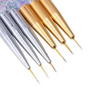 3Pcs Acrylic French Stripe Nail Art Liner Brush Set 3D Tips Manicure Ultra-thin Line Drawing Pen UV Gel Brushes Painting Tools