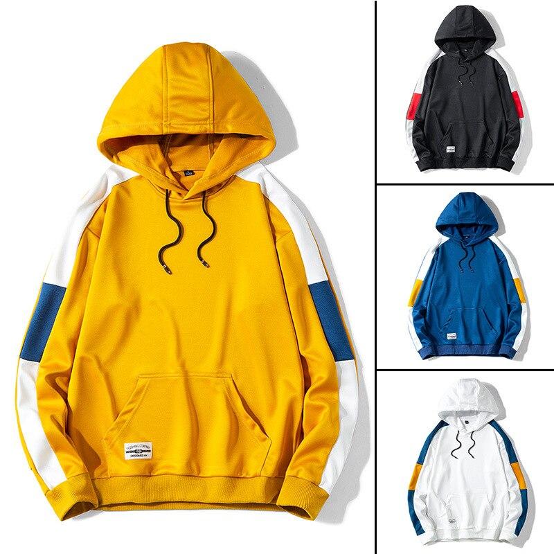 Ahegao, Sudadera con capucha informal de retales a la moda para hombre, sudaderas con capucha, otoño 2020, nueva versión coreana, sudaderas con capucha blancas y negras para hombre