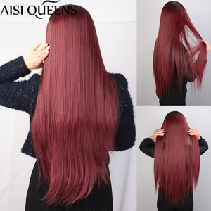 AISI QUEENS Long Straight Red Synthetic Wigs Middle Part Hairline Wig for Women Black Blonde White Daily Hair