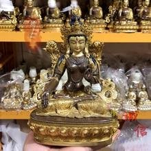 21CM large # 5A GOOD buddha HOME Temple India Nepal Tibet Buddhism gold gilding white Tara Avalokitesvara brass Buddha statue