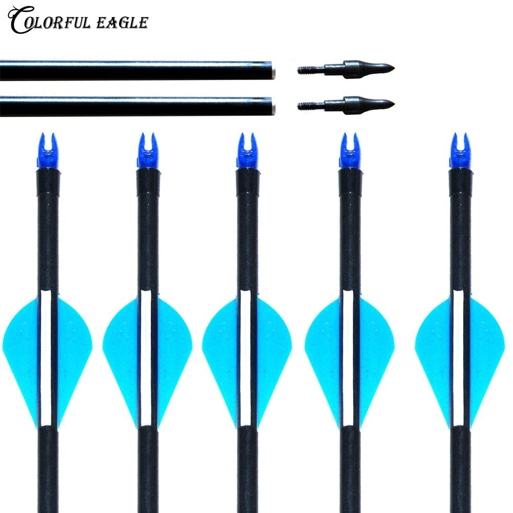 "6-30 Uds 28 ""29"" 30 ""31,5"" flecha de caza reemplazable punta de flecha columna 500 fibra de vidrio flechas Shatf para arco compuesto recurvo flecha"