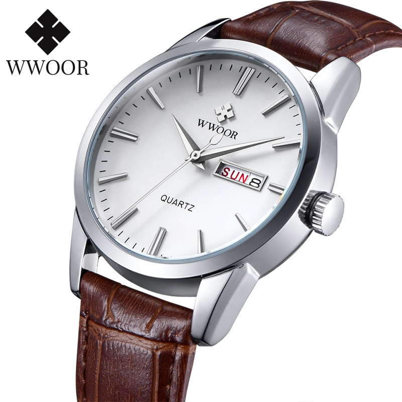 WWOOR Famous Brand Luxury Sports Business Mens Watch Day Date Analog Quartz Watches Male Brown Leather Casual Wrist Watch Clocks