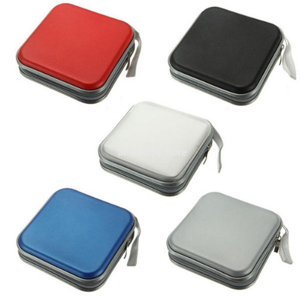 Portable 40 Pcs Capacity Disc CD DVD Purse Size Storage Organizer Protective Case Album Case Case Carrying Bag with Zipper