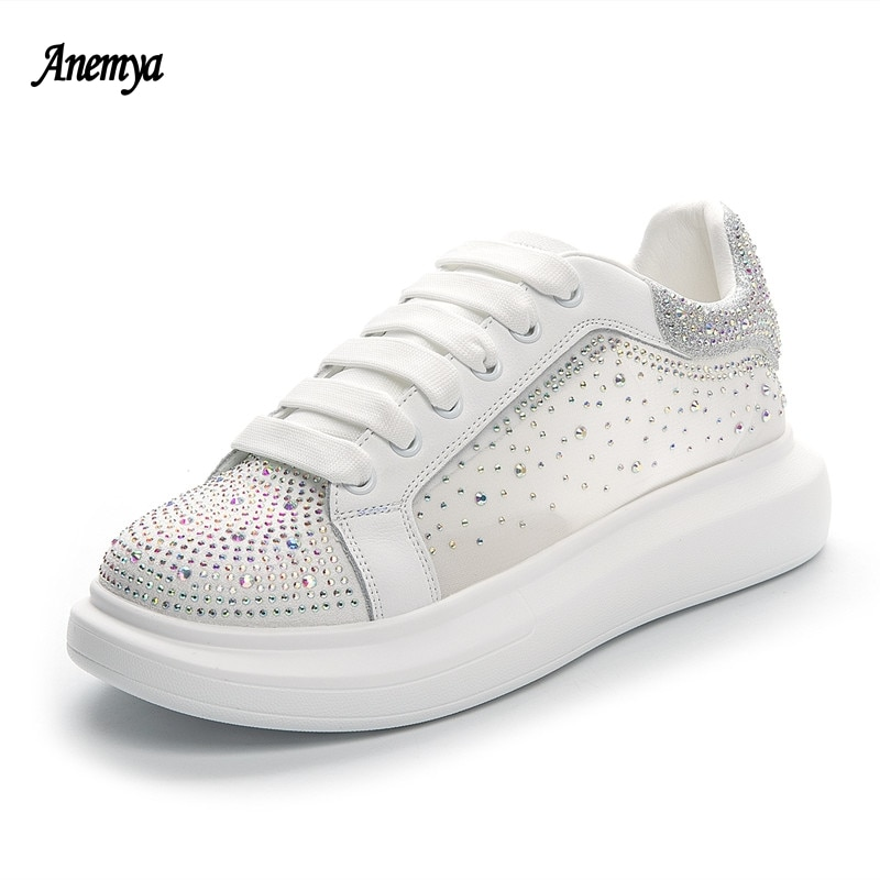 Platform White Sneakers Women's Sports Shoes Leather Rhinestone Casual Vulcanized Shoes Woman Lace Up Tennis Shoes Female Newest