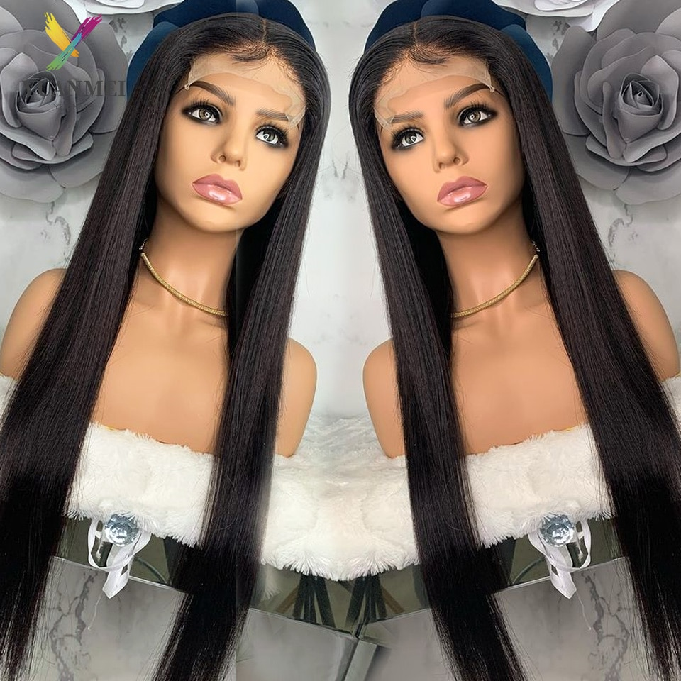 Straight 40 Inch Lace Front Human Hair Wigs Pre Plucked Brazilian Lace Front Wig 150% Density 4x4 Closure Wig Remy