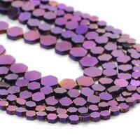 purple flat hexagon hematite natural stone spacer charm loose beads for jewelry making handmade diy bracelet accessories 468mm