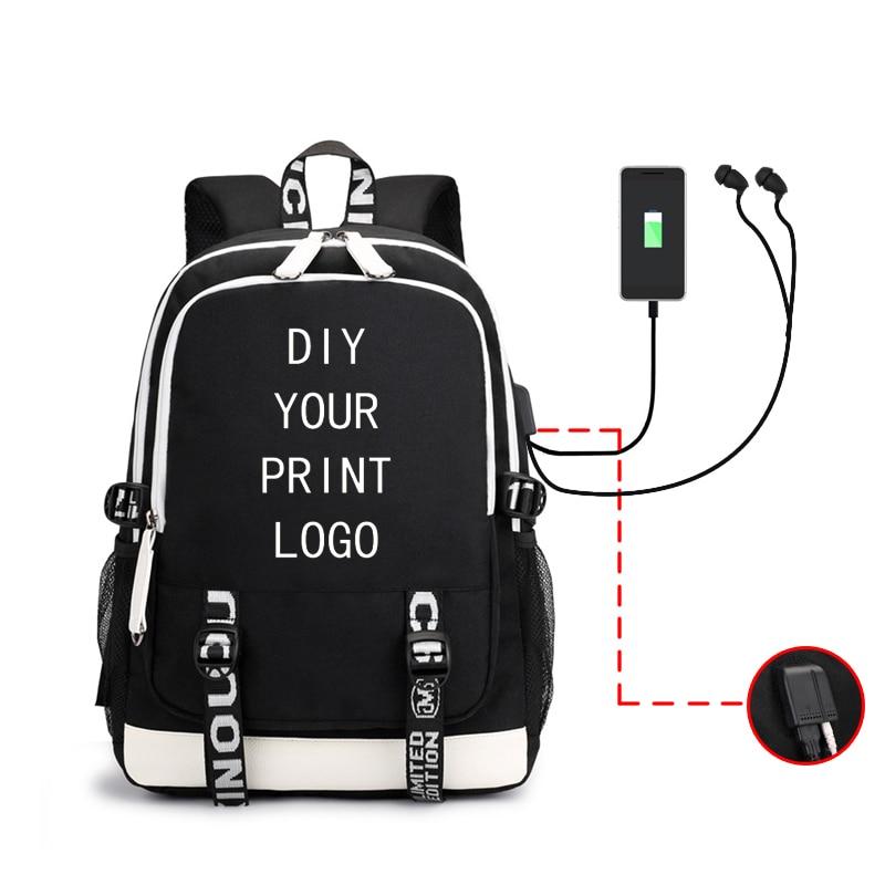Индивидуальный рюкзак для мужчин и женщин, мужской студенческий рюкзак для зарядки, многофункциональная гарнитура, мужской рюкзак с логоти...