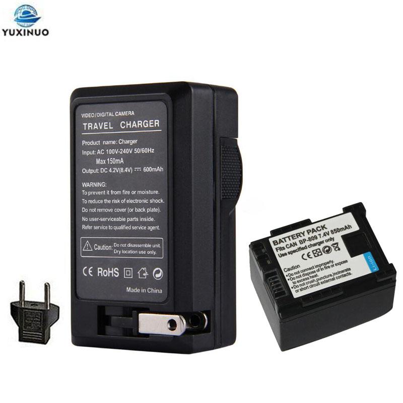 850mAh BP-809 BP809 Camera Battery +AC Charger For Canon BP-808 819 827 HF200 HF20 HG21 HG20 FS200 FS21 HFM41 HFM400 FS300 FS100