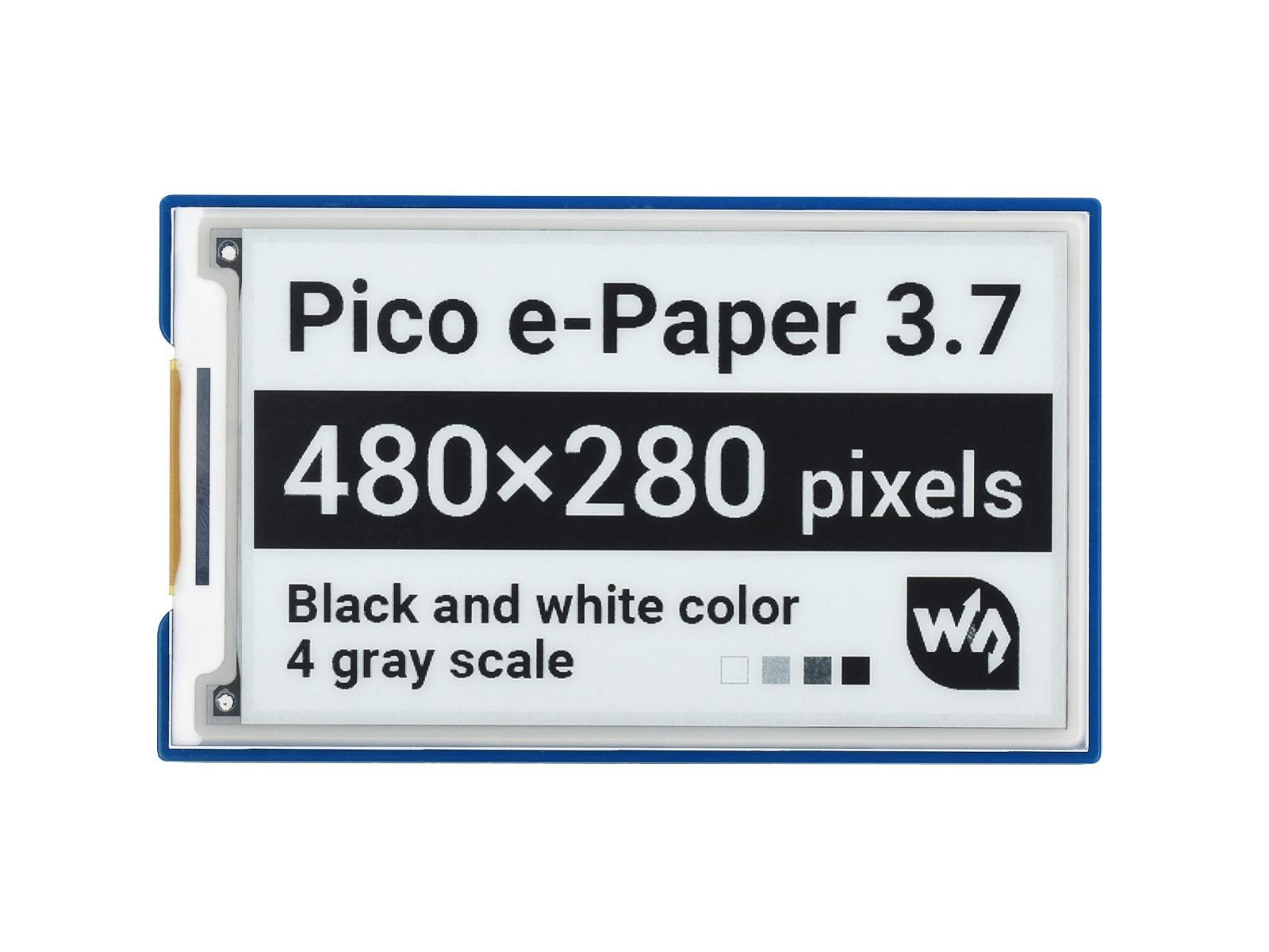 Waveshare 3.7 بوصة وحدة عرض الحبر الإلكتروني للورق الإلكتروني لراسبيري بي بيكو ، 480 × 280 بكسل ، أسود/أبيض ، واجهة SPI
