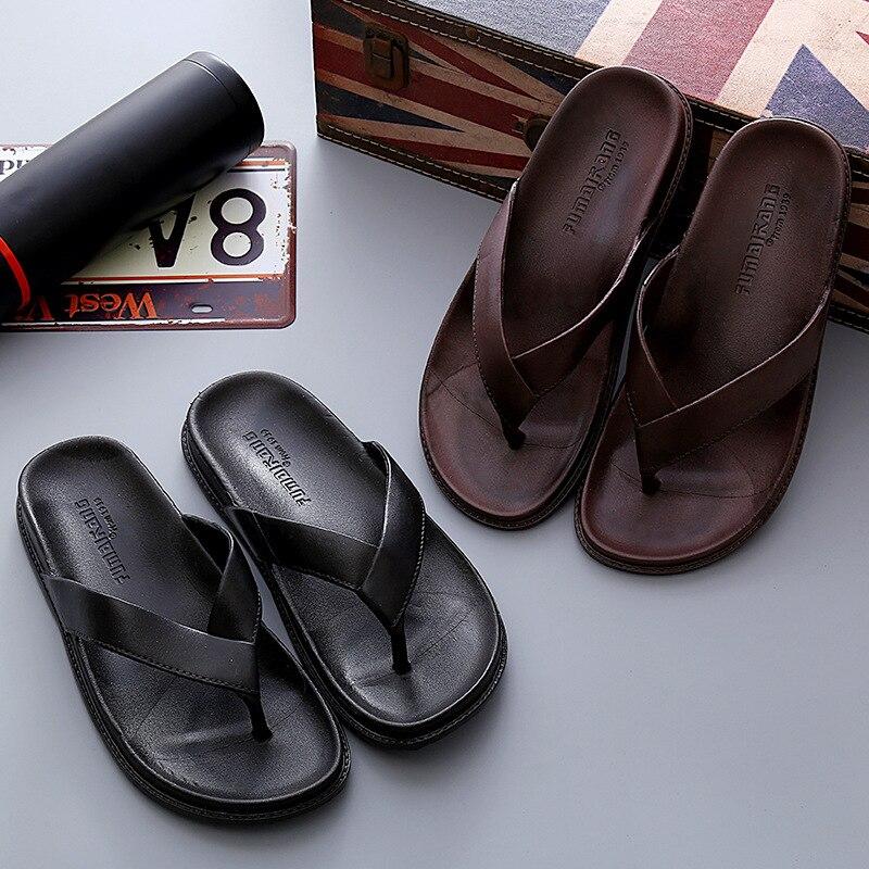 Men Summer Slippers Shoes Home Flip Flop Beach Slipper Comfortable T-Strap Open Toe Slipper Indoor Outside Mens Slide Sandals
