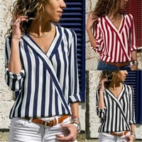 plus 3xl women striped blouse shirt long sleeve blouse v neck shirts lady casual tops blouse femme blusas mujer hot style